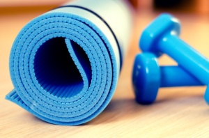 Mat yoga fitness classes and dumbbells - filter instagram